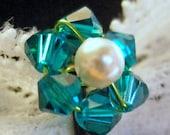 Teal Flower Bobby Pin - Swarovski Crystal / Ivory Pearl Hair Pin (Peacock) Wedding Hair Accessory