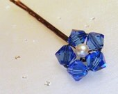 Blue Flower Hair Pin - Sapphire Swarovski Crystal / Pearl Bobby Pin - Child Abuse Awareness