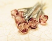 Rose Crystal Hair Pins - Antique Pink Swarovski (set of six) bridal bobby pins