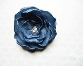 Blue Flower Hair Clip / Pin with Custom Swarovski Crystal Center - extra full regal blue taffeta flower - embellishingyou