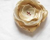 White/Champagne Flower in Organza and Satin Swarovski Crystal Wedding Fascinator