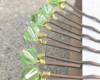 Peridot Crystal Hair Pins - Light Green Swarovski (set of 6 bobby pins)