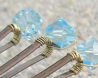 Aquamarine Swarovski Crystal Hair Pins (set of 6) bridal something blue