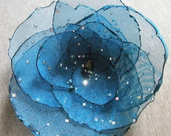 Deep Teal Blue Organza Flower Pin with Diamond Effects and Silver Swarovski Crystal