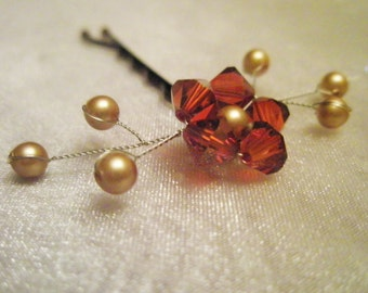 Swarovski Flower Hair Pin - autumn red orange crystal / gold pearl - hand beaded