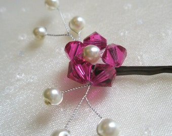 Pink Flower Hair Pin - Fuchsia Swarovski crystal / pearl wedding bobby