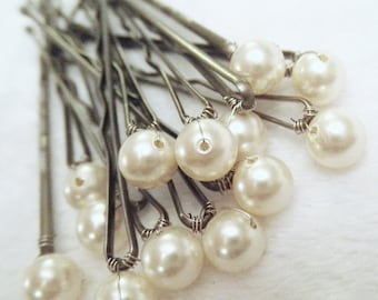 Pearl Hair Pins - Ivory set of 12 Bridal bobby pins (Also in: Cream or Gold)  Wedding Hair Accessory