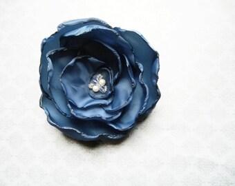 Blue Flower Hair Clip / Pin with Custom Swarovski Crystal Center - extra full regal blue taffeta flower