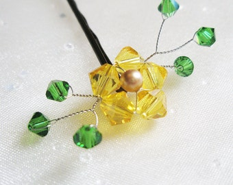 Sunflower Hair Pin - yellow crystal / gold pearl - hand beaded