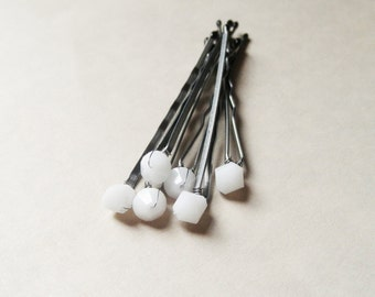 White Crystal Hair Pins - Minimalist Opaque White Alabaster Swarovski (set of 6 wedding bobby pins)