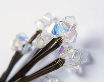 Diamond Swarovski Crystal Hair Pins (Wedding Bobby Pins set of 6)
