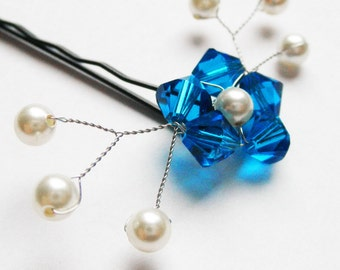 Brilliant Blue Flower Hair Pin - Swarovski crystal / pearl bobby pin - Something Blue Wedding Hair Accessory