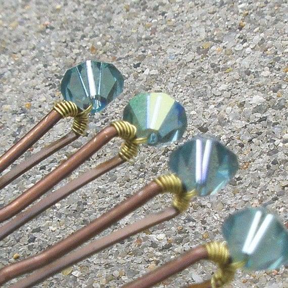 Blue Crystal Hair Pins - Indian Sapphire AB Swarovski (set of 6 wedding bobby pins) Quarry