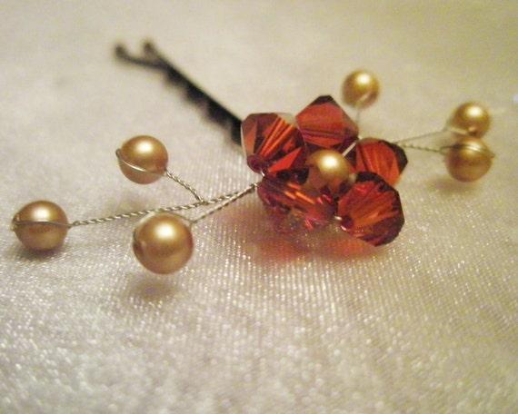 Swarovski Flower Hair Pin - autumn red orange crystal / gold pearl - hand beaded