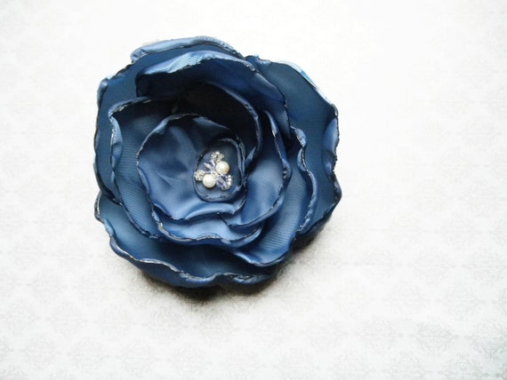 Blue Flower Hair Clip / Pin with Custom Swarovski Crystal Center - extra full regal blue taffeta flower