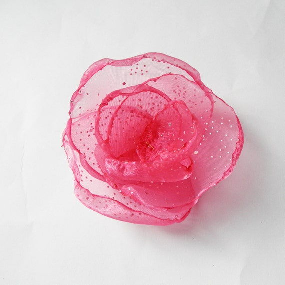 Bright Pink Flower Pin - Watermelon Organza with Diamond Effects and Swarovski Crystal