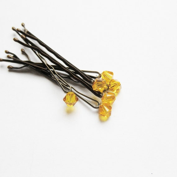 Sunflower Hair Pins Swarovski Crystal (set of 6 wedding/bridal bobby pins)