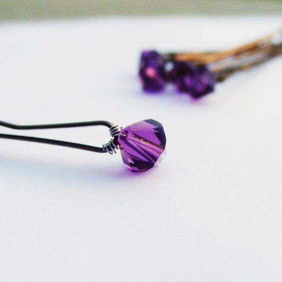 Amethyst Hair Pins - Regal Purple Swarovski Crystal (set of 6 bridal / wedding hair accessory bobby pins)