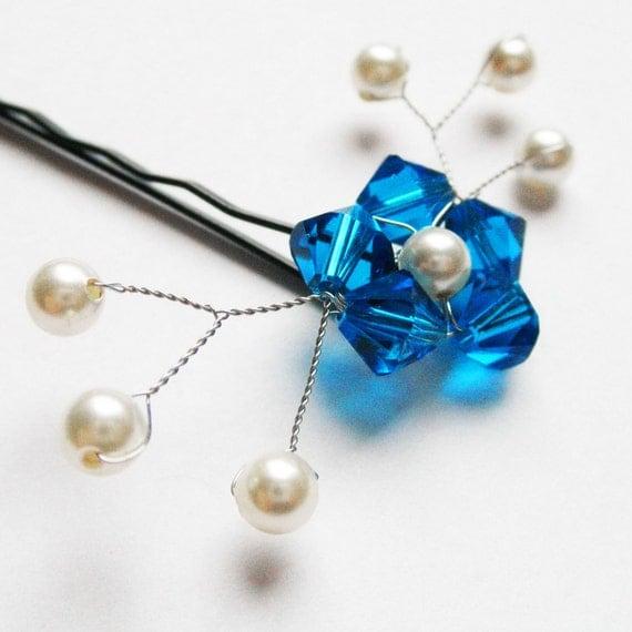 Brilliant Blue Flower Hair Pin - Swarovski crystal / pearl bobby pin - Something Blue Wedding Hair Accessory