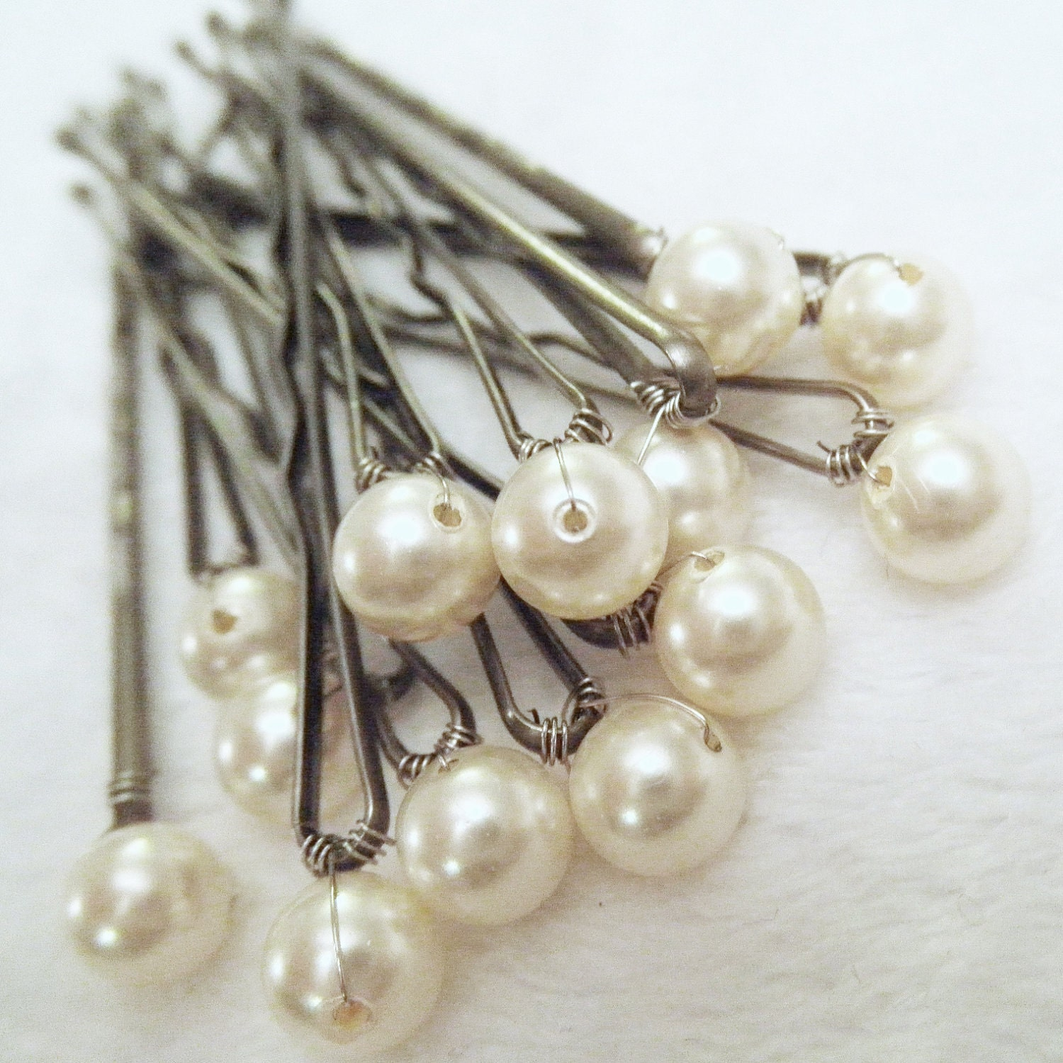 Bridal Hair With Pins : Pearl hair ivory set of bridal bobby also in