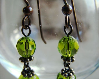 Olive green crystal earrings, niobium hypo-allergenic earring wires, dangle drops