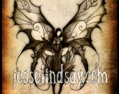 Faceless Fairy dark gothic fantasy print by Jesse Lindsay, full color 11x17 surreal, visionary fairy print, signed & ready to frame