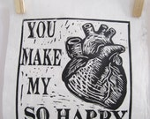 You Make My Heart Happy Linocut