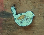 Small Blue Bird Brooch with Vintage Cogs (1)