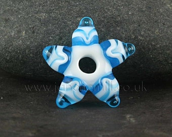 "Lampwork art glass star, ""Starflake"", focal or pendant, FHFteam, GBUK, SRA"