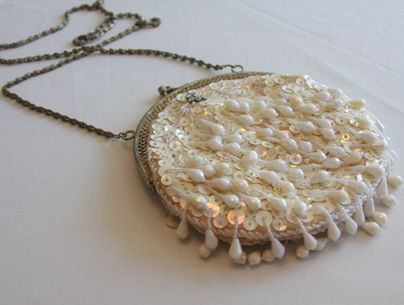 RESERVED for Megan Vintage Ivory Sequined/Beaded Purse with Rhinestone
