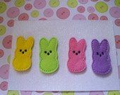 Set of 4 Adorable Marshmallow Bunnies-  Machine Embroidered Appliques