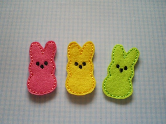 READY TO SHIP - Set of 3 Adorable Marshmallow Bunnies-  Machine Embroidered Appliques