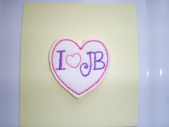 Set of 4 Pink and Purple - I Love JB Heart Felt Embroidered Appliques