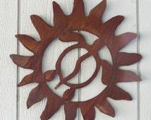Rusty Finish Metal Wall Art Hawaiian Sun and Honu Turtle