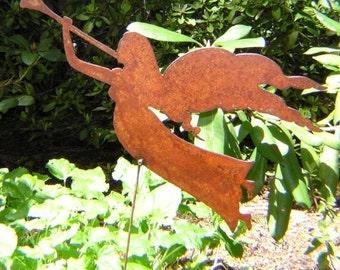 Rusty Finish Metal Heralding Angel Garden Art Yard Stake