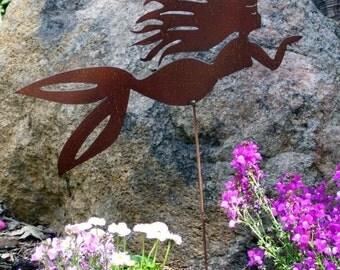 Rusty Finish Metal Garden Art Mermaid Yard Stake