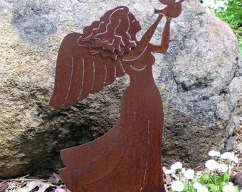 Rusty Finish Metal Garden Art Angel Yard Stake with Dove