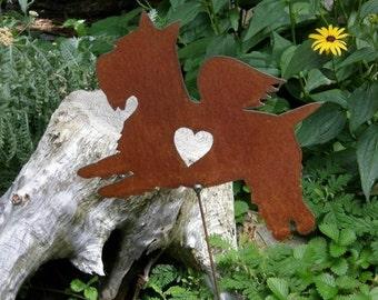 Rusty Finish Metal Garden Art Scottie Scottish Terrier Angel Memorial Yard Stake