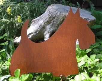 Rusty Finish Scotty Scottish Terrier Scottie Metal Garden Art Yard Stake