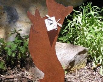 Rusty Finish Begging Pembroke Corgi Metal Garden Art Yard Stake