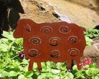 Rusty Finish Sheep Metal Silhouette Garden Art Yard Stake