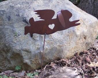 Rusty Finish Metal Garden Art Lop Earred Bunny Rabbit Angel Memorial Yard Stake