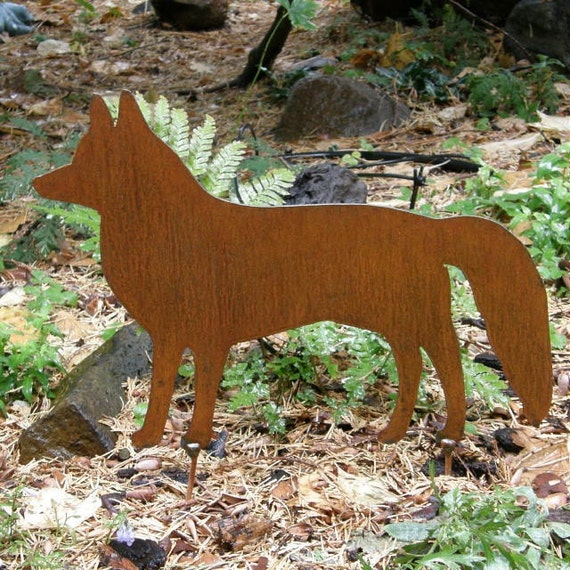 Rusty Finish Metal Red Fox Silhouette Garden Art By
