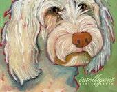 "Goldendoodle No. 1 - Art poster 13x19"" from original oil painting designer dog portrait"