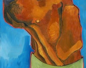 """Coonhound No. 3 - Redbone 2x3"""" magnet from original oil painting"""