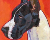 """Great Dane No. 13 - 13x19"""" art poster from original oil painting black and white dog portrait"""