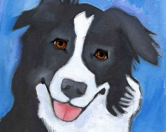 Border Collie No. 2 - magnets, coasters and art prints in four sizes