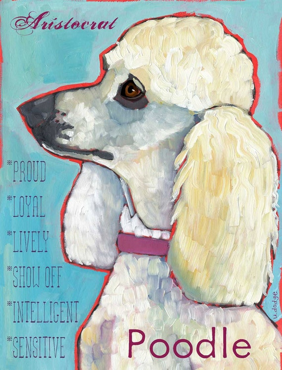White Poodle No. 2 - Set of 6 Blank Cards with Envelopes in a Clear sleeve
