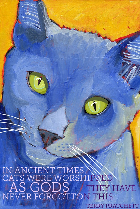 Cat No. 3 - Cats are Gods - magnets coasters and art prints