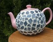 Mosaic Teapot Pink Gray Black